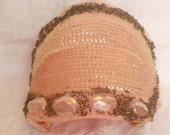Vintage Pink Bejeweled Hat