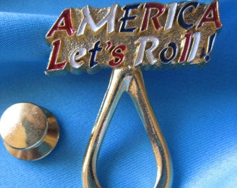 AMERICA LET'S ROLL Enamel Finish Lapel Pin Plus