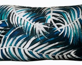 Hand Painted Silk Pillow Cover-White Leaves