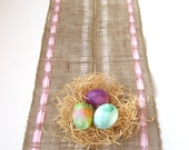 Burlap Table Runner With Satin Ribbon - Custom Order Available