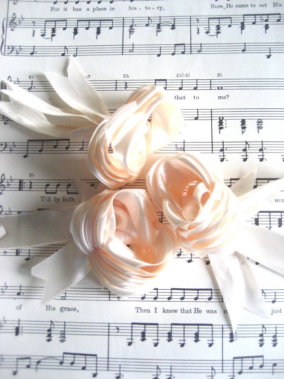 Ivory Satin Ribbon Roses - Special Accent For Your Summer Style