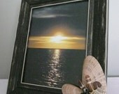 Photo Picture Frame Seashells Swarovski Crystals 8 x 10 Black Silver Brown Shabby Chic Beach Cottage Decor Ocean Lover OOAK
