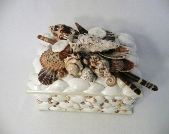Seaside Elegance Sea Shell Box Wood Box with Swarovski Crystals for Coastal Beach Home, Office, Wedding, Holiday Gift, Pet Urn