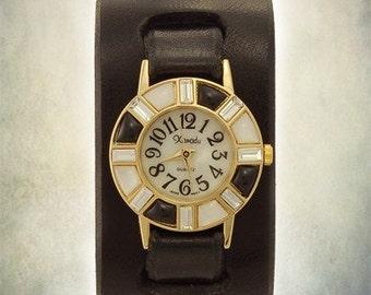 Handcrafted Ladies Cuff Watch - Black Onyx