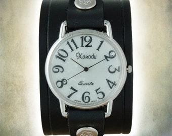 Ladies Retro 70s Cuff Watch - Genuine Leather