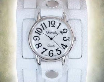Ladies 3 Strap White Leather Cuff Watch