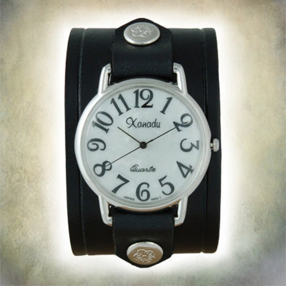Ladies Retro 70s Cuff Watch - Genuine Leather