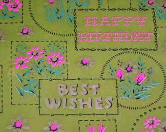 Vintage Green Birthday Gift Wrap New Package 2 Sheets Wrapping Paper