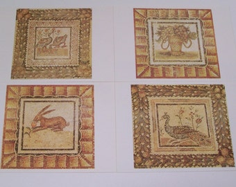 Set of 4 Vintage Postcards - Beautiful Mosaics - Frame able Art