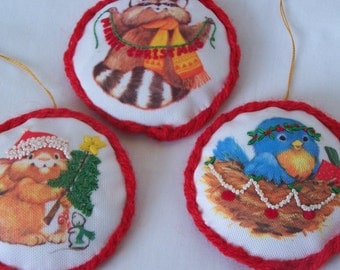 Sweet Trio Vintage Plush Woodland Critter Christmas Ornaments