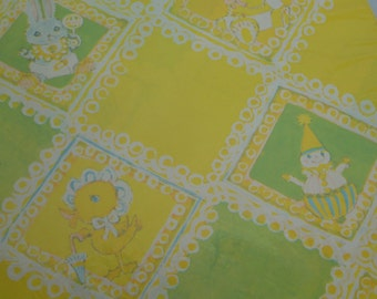 Vintage 60's Baby Shower Gift Wrap Sheets -  Lime Green & Yellow