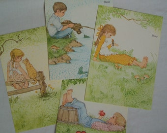 4 Vintage Current Children - Fold A Notes - Linda K Powell Illustrations - Cute