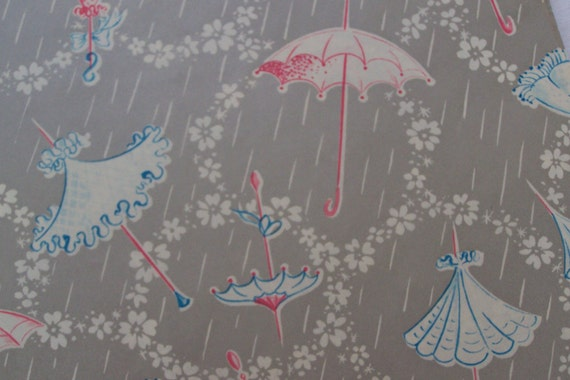 Pastel on Silver Vintage Shower Wrapping Paper