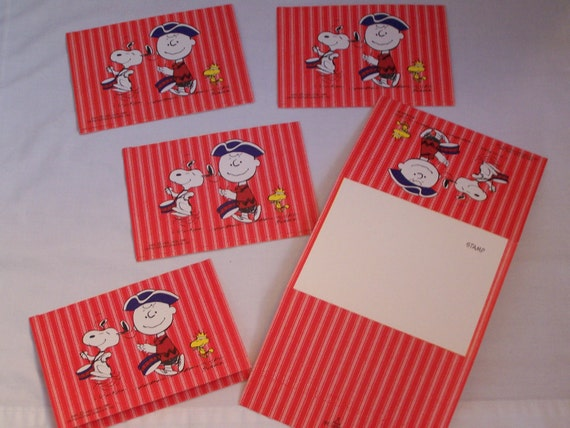 Reserved for Marjory--5 Vintage Charlie Brown Snoopy Centinnial Fold A Notes