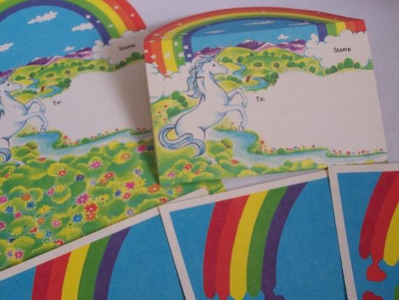 7pc Collection 1980s Stationery - Unicorns & Rainbows