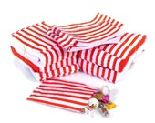100 Pack - Candy Stripe Printed Paper Bags - Red - 5 x 7 Inches - NEW STYLE