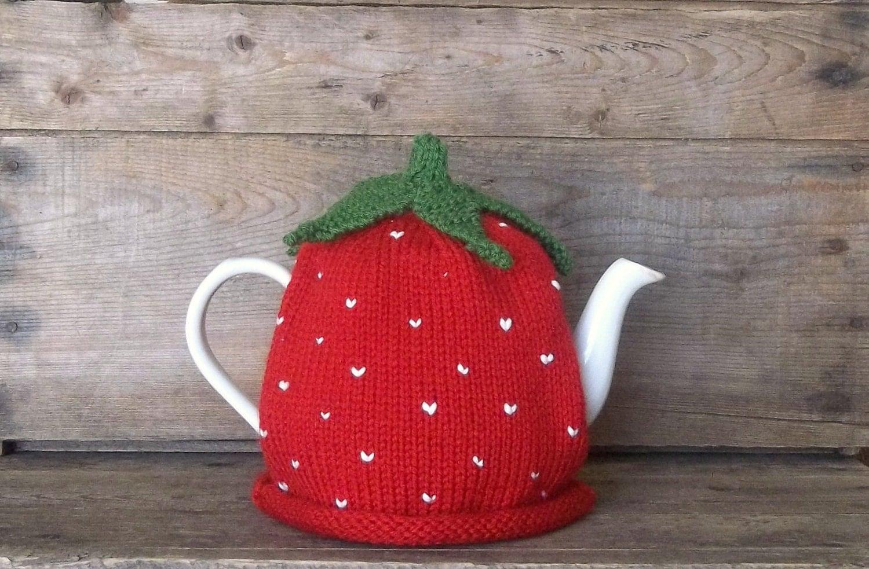 Strawberry Tea Cozy Handmade Knit Strawberry Fruit Tea Cosy