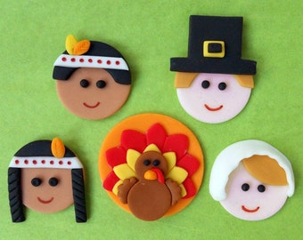 THANKSGIVING Cupcake Toppers. DELUXE Set
