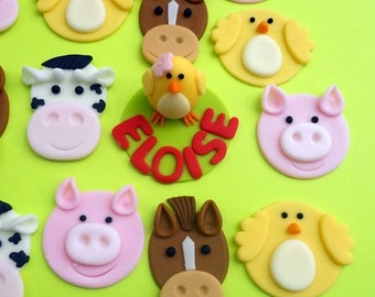 FARM ANIMAL set Edible Cupcake Toppers - One dozen PLUS 3D figure