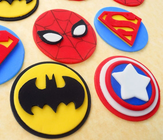 24 SUPERHERO Edible Fondant Cupcake Toppers