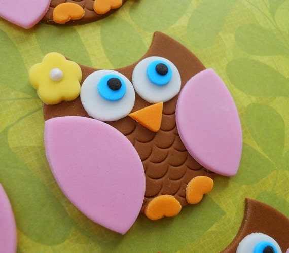 12 BROWN and PINK OWL Edible Cupcake Toppers