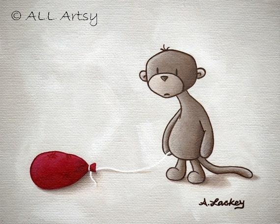 It's not a good day...  8x10 matted canvas monkey art print - wall art