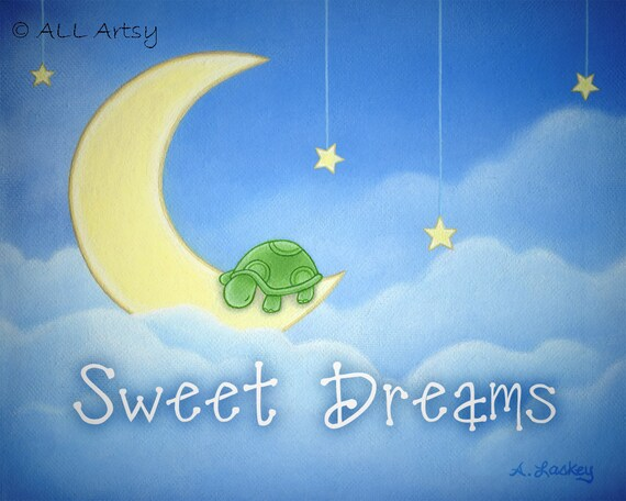 Personalized canvas print (any name) - Sweet Dreams sleepy Turtle Personalized Nursery Room Matted 8x10 Painting Print