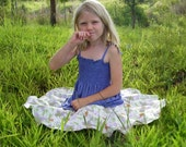 Children's Clothing -Girls Summer Skirt-  Circle Skirt in Organic Cotton Floral Print Eco Friendly