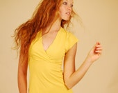 Summer Fashion Women's Cap Sleeve Shirt in Mustard Yellow Organic Cotton Eco Friendly SAMPLE SALE