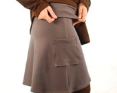 A Line Skirt - Short Skirt Pockets - Gray - Eco Friendly - Organic Clothing - Sustainable