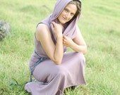 Sleeveless Cowl Hoodie in Phlox Lavender - Eco Friendly - Organic Cotton Clothing for Women