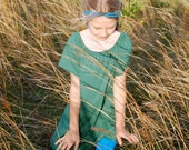 Girl's Peasant Top - Tunic - Mini Dress - Emerald Green  - Organic Clothing - Eco Friendly