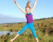 Eco - Friendly Girls Leggings - Yoga Capri Tights - Organic Clothing - Several Colors