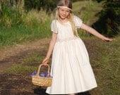Eco Friendly  - Peasant Dress - Flower Girl Dress - Organic Cotton -  Sizes 6-12