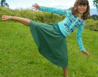 Eco Friendly  Kids  - Circle Skirt for Girls  - Organic Clothing  - Emerald Green - Several Colors