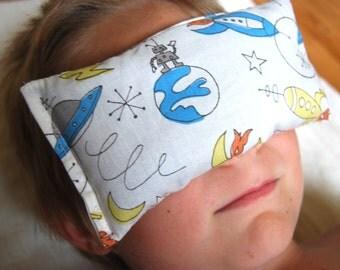 Eco - Friendly Childrens Eye Pillows - Organic Cotton Lavender Flax - Retro Space Rocket Print