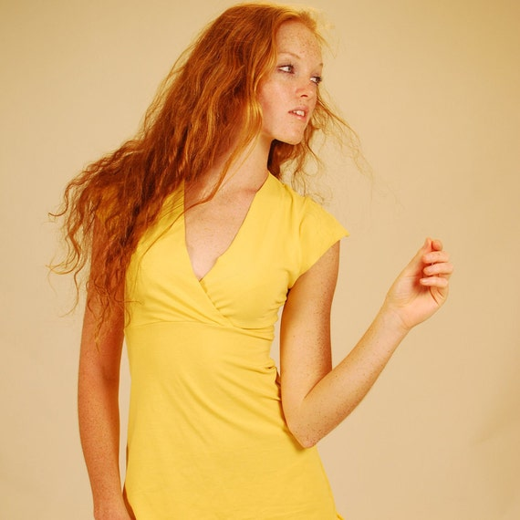 Summer Fashion Women's Cap Sleeve Shirt in Mustard Yellow Organic Cotton Eco Friendly SAMPLE SALE