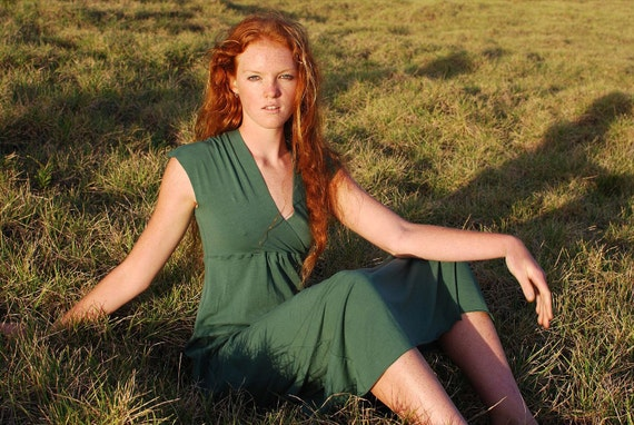 Emerald Dress - Green Maxi Dress - Cap Sleeve - Eco Friendly - Several Colors - Organic Clothing