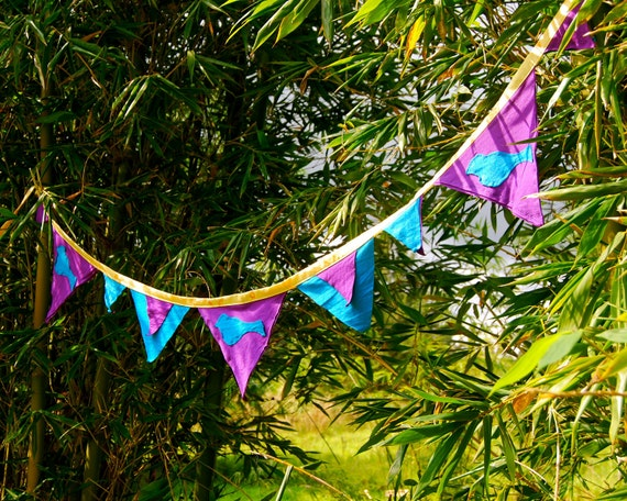 FOR ALEXA ONLY  Fabric Bunting - Banner - Reversible - Purple - Blue Bird - Party - Eco Friendly - Upcycled Repurposed