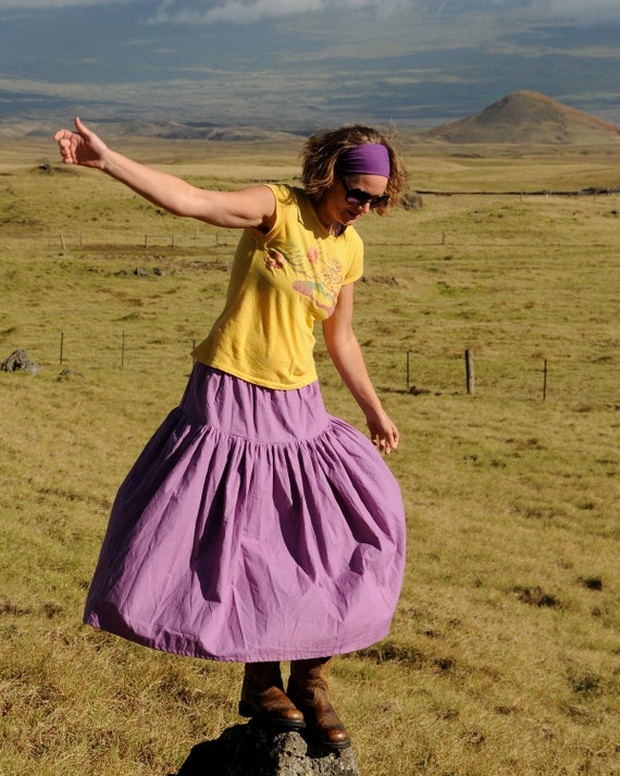 Maxi Skirt - Full Length Skirt - Purple - Hemp Organic Cotton - Eco Friendly - Organic Clothing