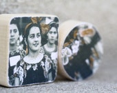 Rosa and Her Ugly Step Sisters Minature Woodblock Decorative Wall Hanging Made From Vintage Photograph
