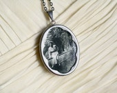 Wistful in the Wood Locket Necklace with Vintage Photograph / Dramatically Long