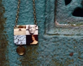 Photo Collage Necklace No. 1 / Art Fragments, Set a Mood, Taxidermy and Miniature, L'Inconnue de la Seine