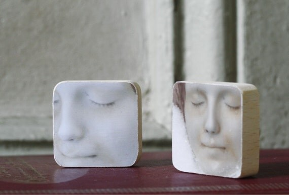L'Inconnue de la Seine Two Miniature Wood Block Decorative Wall Hangings Made With Mounted Original Photographs