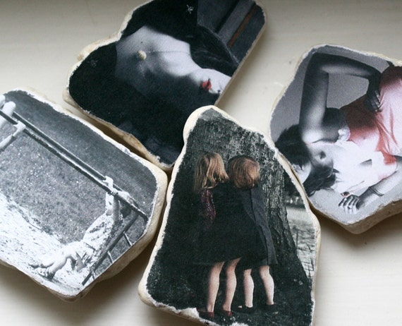 Your Personal Photograph Custom Altered for Vintage Effect and Mounted on Stone