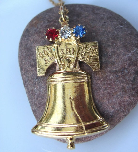 Vintage Liberty Bell Necklace Red clear blue rhinestones gold bell