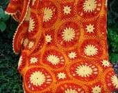Vintage1970s french crochet blanket red orange yellow sunflowers