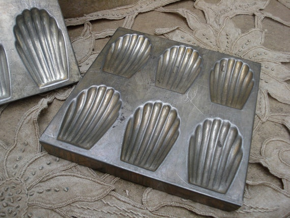 vintage french metal patisserie set of 2 tins for Madeleines