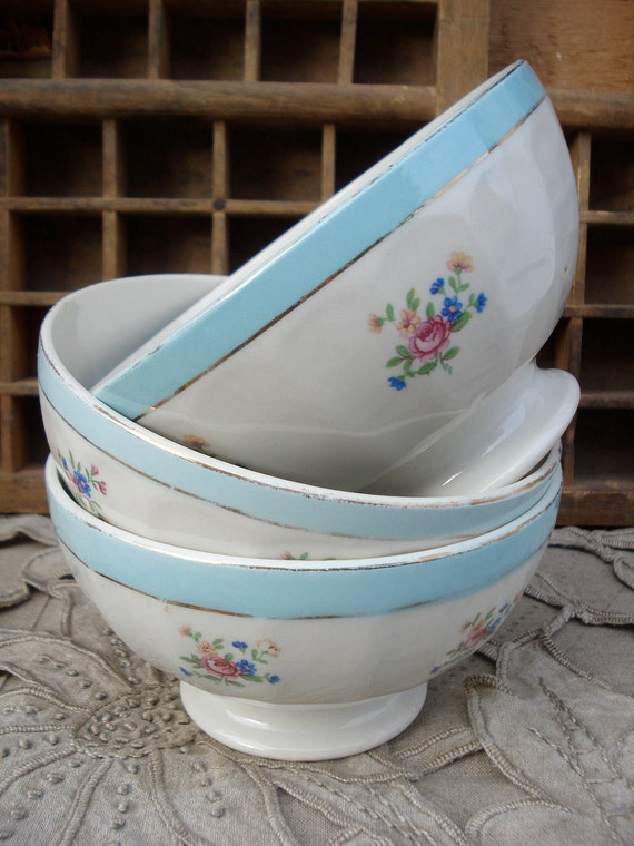 Vintage french cafe au lait bowl blue and flowers shabby chic