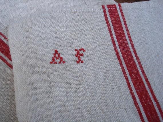 vintage monograme french linen kitchen cloth A F